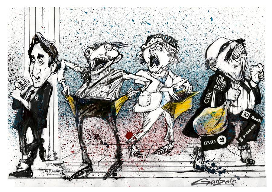 Illustration of Justin Trudeau leaning up against a bank column while filing his nails. Two panicked people search their empty pockets and purse. A masked person is walking away with bags displaying logos from Canadian banks.